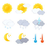 Weather forecast icon set. Vector-Illustration Stock Image
