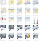 Weather forecast icon set. Day and night weather forecast icons Stock Image
