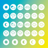 Weather forecast icon set. Weather forecast icon set on blue green and yellow background Royalty Free Stock Photo