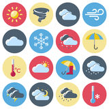 Weather Forecast Icon Set. Round isolated colored weather forecast icon set with signs denoting weather conditions vector illustration Stock Photo