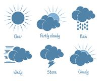 Weather forecast icon set. Six different icon Royalty Free Stock Photo