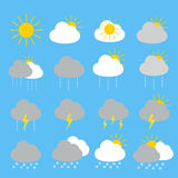 Weather forecast icon set with sunny , rainy,thunderstorm. And snow set 16 items Stock Illustration