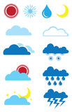Weather Forecast Icon Set. Vector illustration of web icons for weather forecast Stock Images