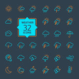 Weather forecast Icon set. Vector Illustration. Web icons collection - Weather forecast.  Vector, thin line set Royalty Free Stock Images