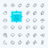 Weather forecast Icon set. Vector Illustration. Web icons collection - Weather forecast.  Vector, thin line set Royalty Free Stock Photography