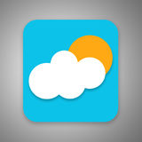 Weather Forecast Icon. Weather Icon.White Cloud with a Shining Sun Behind Royalty Free Stock Images