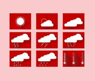 Weather forecast icons in red squares Stock Photography