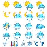 Weather forecast icons set. Set of 30 weather forecast icons Royalty Free Stock Images