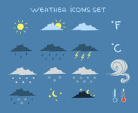 Weather Forecast Icons Set Royalty Free Stock Photo