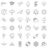 Weather forecast icons set, outline style Stock Image