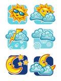 Weather forecast icons set Stock Photo