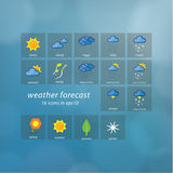 Weather forecast icons. Vector icons - stylized weather events. Stock Photography