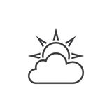 Weather forecast line icon, partly cloudy outline  logo il. Lustration, linear pictogram isolated on white Stock Image