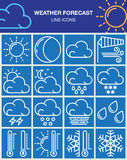 Weather forecast line icons set, outline vector symbol collection, linear white pictogram pack  on blue. Royalty Free Stock Photography