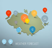 Weather forecast map with flat pointers and icons Stock Photography