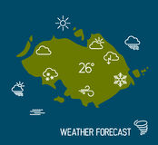 Weather forecast map with flat pointers and icons Royalty Free Stock Photography
