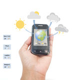 Weather Forecast on mobile. stock photos