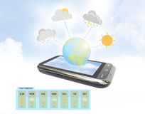 Weather Forecast on mobile. Weather Forecast map on mobile Stock Images