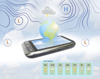 Weather Forecast on mobile. Weather Forecast map on mobile Stock Photo