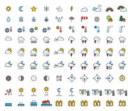 Weather Forecast & Meteorology filled line icons. This is a set of filled line icons related to Weather & Meteorology Royalty Free Stock Images