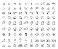 Weather Forecast & Meteorology outline icons. This is a set of filled line icons related to Weather & Meteorology Royalty Free Stock Images