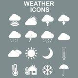 Weather forecast and meteorology symbols icons flat set Royalty Free Stock Image