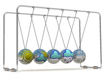 Weather forecast and Newton's cradle Royalty Free Stock Photos