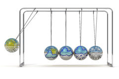 Weather forecast and Newton's cradle Stock Images