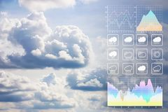 Weather forecast presentation report background with beautiful  clouds. Weather forecast presentation report background with beautiful  clouds aerial view from stock photography