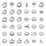 Weather Forecast Signs Black Thin Line Icon Set. Vector. Weather Forecast Signs Black Thin Line Icon Set Include of Sun, Temperature, Storm, Cloud, Rain, Snow Stock Photo