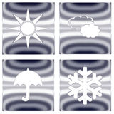 Weather forecast silver metallic icons Royalty Free Stock Photos