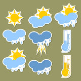 Weather forecast stickers Royalty Free Stock Image