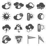 Weather forecast symbols icons set black Stock Image