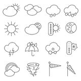 Weather forecast symbols icons set line Stock Photos