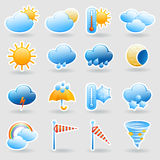 Weather forecast symbols icons set Royalty Free Stock Image