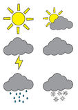 Weather forecast symbols Royalty Free Stock Image