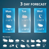 Weather forecast template and icons eps10 Stock Images
