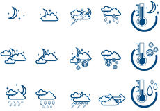 Weather Forecast vector icone set night Royalty Free Stock Photo