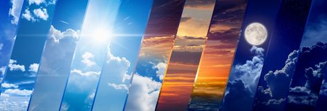Weather forecast wide banner, day and night Stock Photos