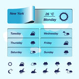 Weather forecast, widget, banner and symbols Stock Photo