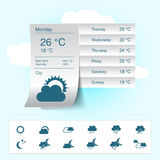 Weather forecast, widget, banner and symbols  Royalty Free Stock Photos