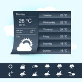 Weather forecast, widget, banner and symbols  Stock Photography