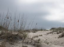 Weather Front Looming over Beach II. Dark clouds roll in from the ocean foretelling winds and rain at Carolina Beach Royalty Free Stock Images