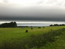 Shelf Cloud Formation. A weather front shelf cloud moving in stock photo