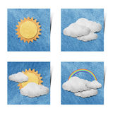 Weather grunge recycled paper craft stick on white Royalty Free Stock Photos