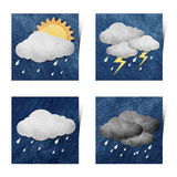 Weather grunge recycled paper craft stick on white Stock Photo