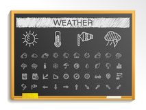 Weather hand drawing line icons. chalk sketch sign illustration on blackboard Stock Photos