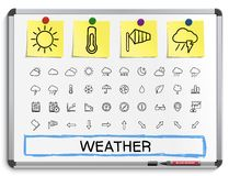 Weather hand drawing line icons Royalty Free Stock Image