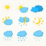 Weather hand drawn icon set Stock Photos