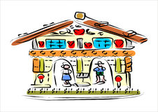 Weather house. A small, symbolic house shows, how the weather comes. If the woman steps out, gives it suns. Footstep the man out, rains it. The house is vector illustration